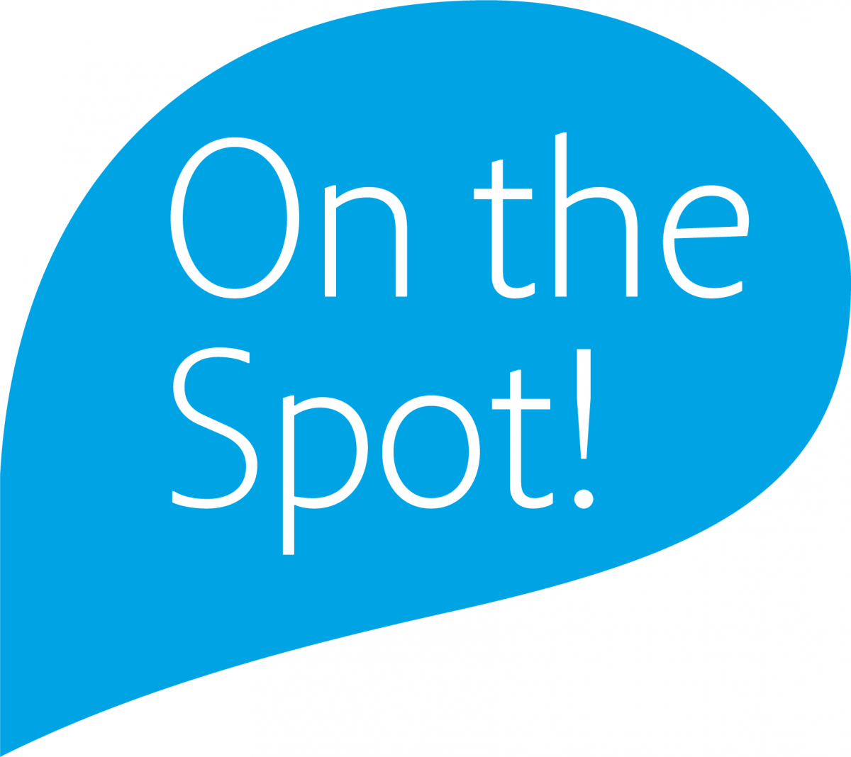 Blue on the spot text graphic