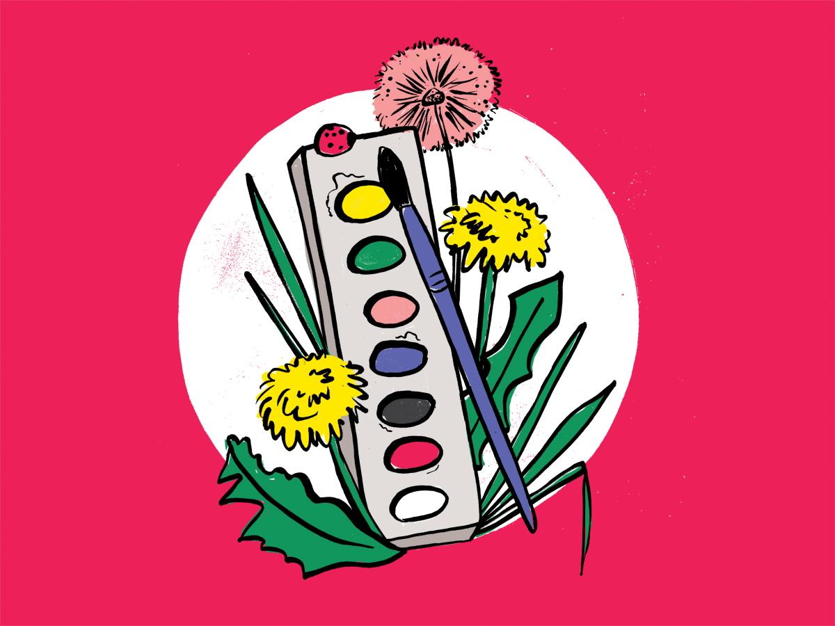 Illustration of paints and dandelions