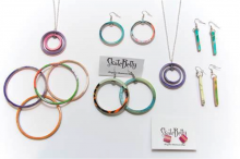 Bright and colourful recycled skateboards become fashion accessories